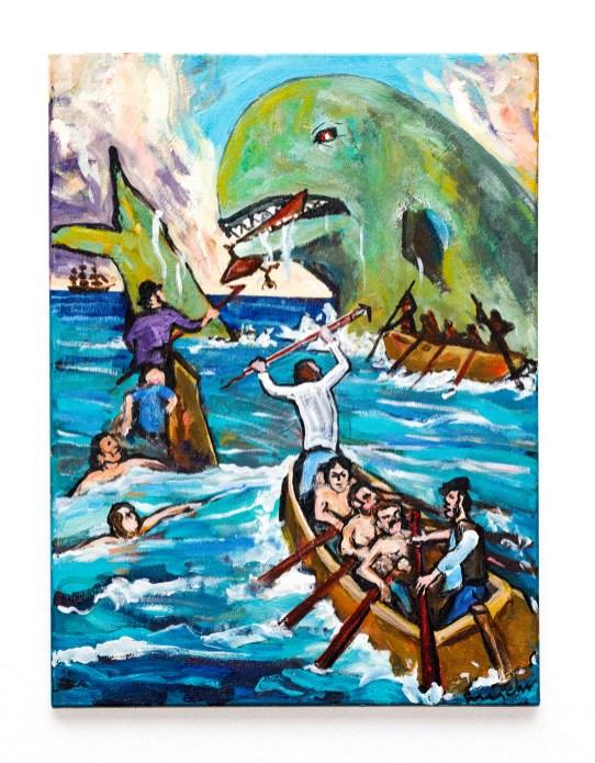 Whaling Scene Acrylic on canvas POR