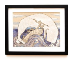 Sperm Whale with Snow White Head Graphite Matted and framed $145.00