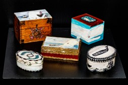 Faux Whalebone Ditty Boxes 1-5 Wood, painted $135.00/each
