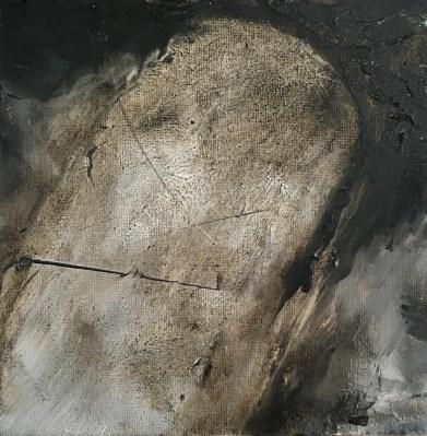 """Moby Tar, asphaltum, oil on wood 8"""" x 8"""" NFS"""