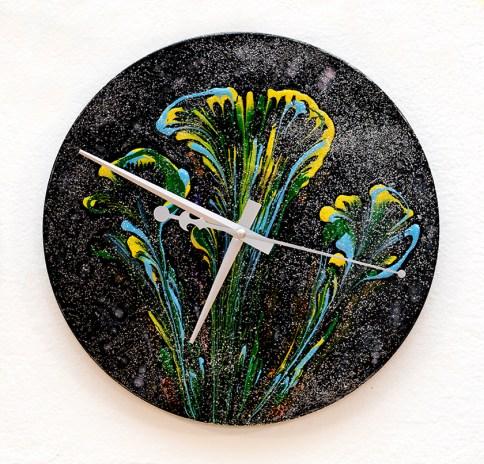 Julee Galitsky Midnight Flowers, 2021 Acrylic on vinyl record (clock) $125