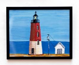 David LeComte Point Judith Light Acrylic on paint board $250
