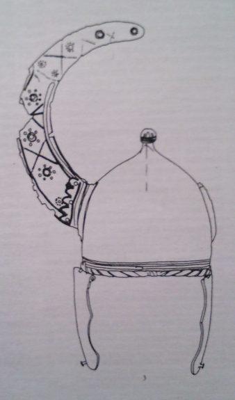 Particolare della decorazione a sbalzo dell'elmo di Casaselvatica - da Manuela Catarsi Dall'Aglio, La seconda età del ferro nel territorio parmense