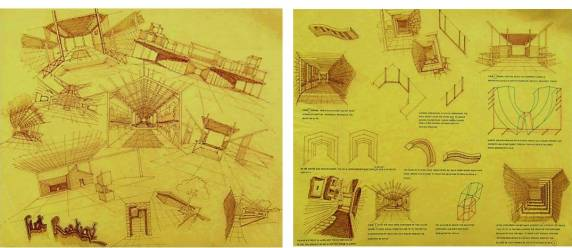 Spatial studies from Thesis drawings exploring effects of natural light, material , texture, landscape and art in creating Biophilic spaces