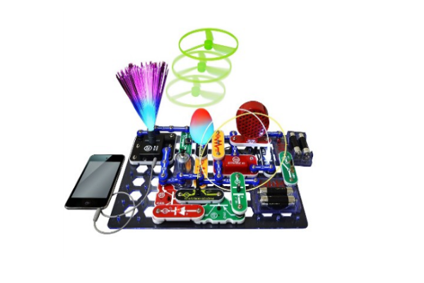 Snap Circuits Lights Electronics Discovery Kit - a cool science kit for older kids to learn how electronic circuits work and making a few fun things from it.