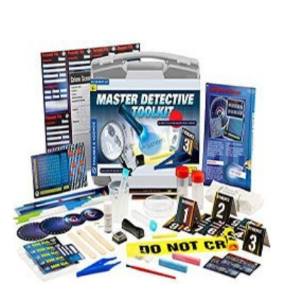 Thames and Kosmos Master Detective Tool Kit - An award-winning kit to help kids think like a detective. a la CSI style. Very fun and teaches older kids logical thinking too.