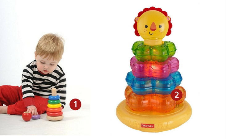 Two stacking rings toys for babies. One is the WonderWorld stacking ring for those who love wooden toys and the second is the Fisher-Price lion stacker which is also a musical toy.