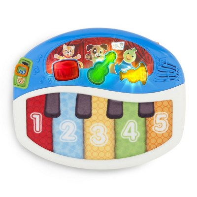 Baby Einstein Discover And Play Piano. It's not a real piano as you can probably expect from a plastic one like this but it is a good introduction to music, songs, and musical instruments.