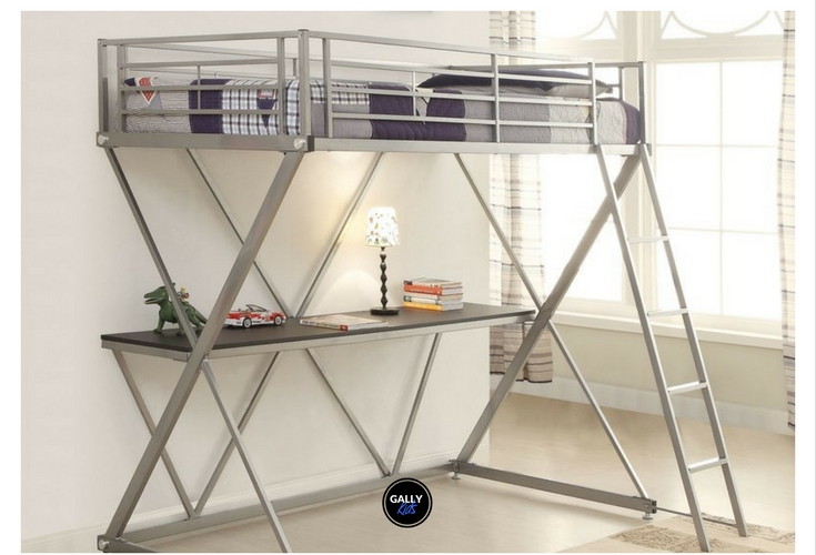 Stylish and affordable modern loft bed made of metal. Space saver