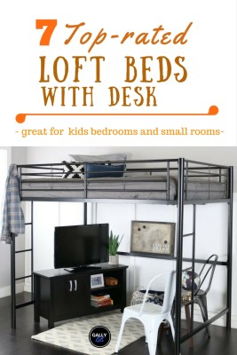 7 different ideas for loft beds with desk plus ladder for climbing to the bed area. This one is a metal loft bed with a big space. You can choose what you put under the loft -- a desk? small sofa? Great for kids rooms and dorm rooms