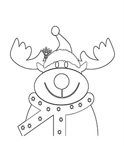 Part of 4 different reindeer face coloring pages. This one's great for Christmas.