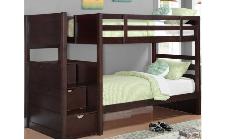 For small bedrooms, have a look at this twin bunk bed with 3 storage areas.