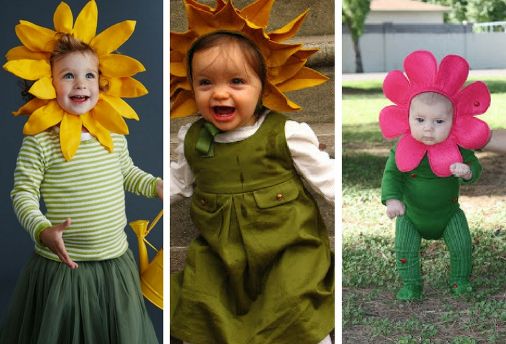 Three different sunflower costumes that you can easily make yourself. Have the sunflower hood or headpiece ready and you can DIY the rest of the costume