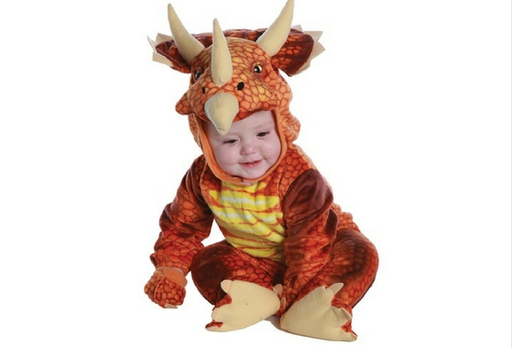 Cute Triceratops costume for toddlers. Red orange color with very realistic skin prints.