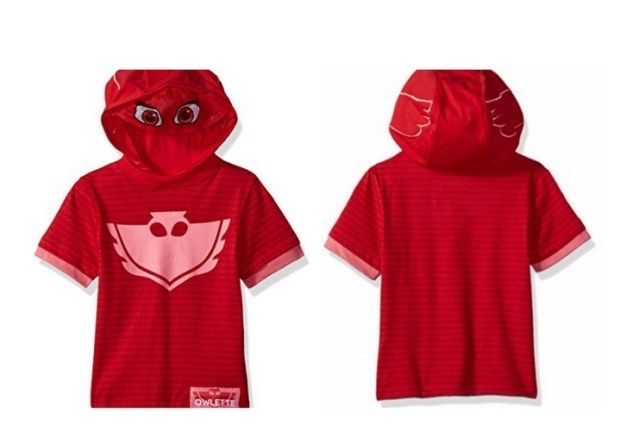 Red hoodie with Owlette's logo. Great for Pretend play or everyday wear.