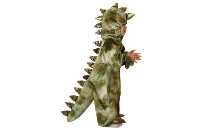"Realistic green t-rex costume with spikes and ""paws"".  Great for toddlers."