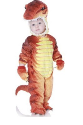 Yellow and orange t-rex costume. That head looks fierce!