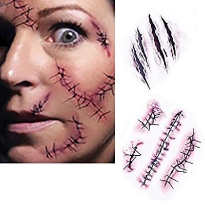 Use this temporary tattoo sticker for a Chucky costume
