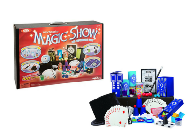 Magic showcase kit for tween to learn about the art. The bag can turn into a table too for all your son's magician shows.