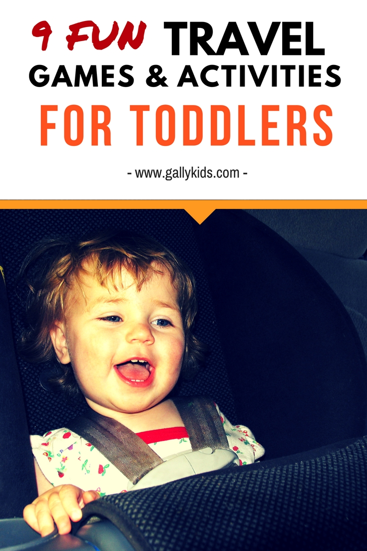 9 fun travel games for toddlers. Includes ideas for games that do not need a lot of preparation.