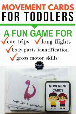 A fun activity to do with kids during car trips. Also great for gross motor development.