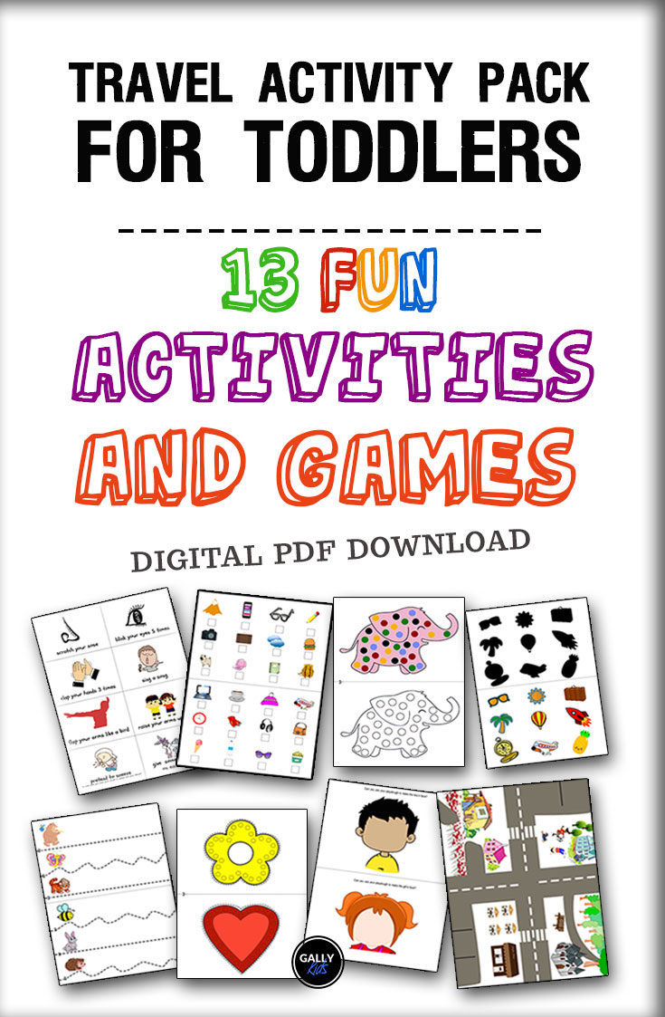 Travel activity pack for toddlers. This includes over 13 fun activities and games that toddlers can do in the car or in planes.