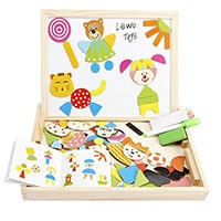 Cool travel puzzle and easel for toddlers on car journeys.