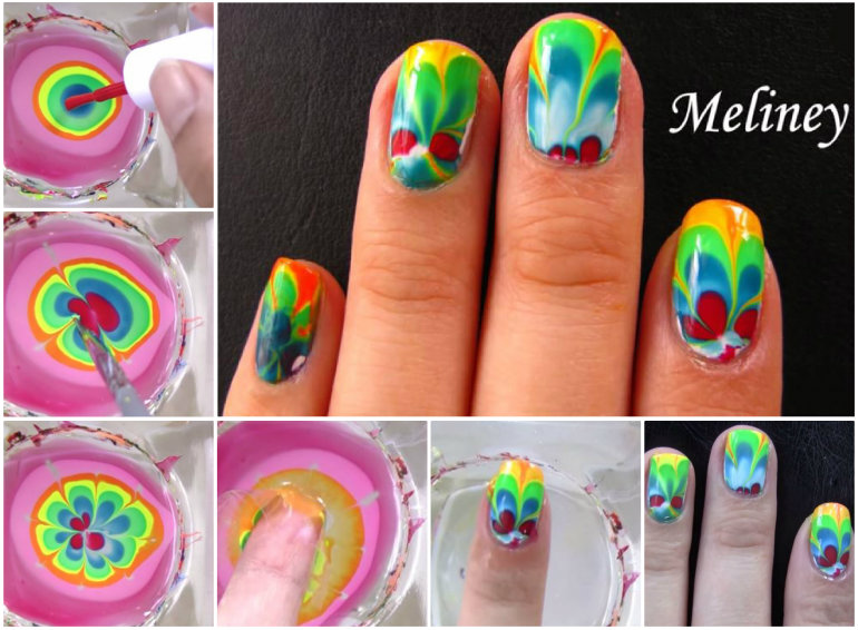Water Marbling Nail Art Designs Tutorial With Steps For Christmas Holidays 7