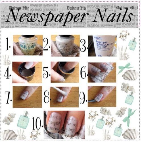 Newspaper Nail Art designs Tutorials