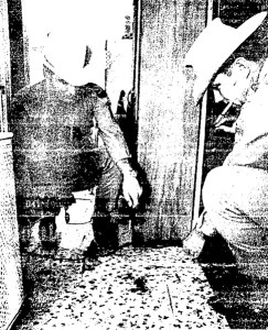 Deputies look at blood stains at Irene Alexander's home in Dickinson (The Galveston Daily News)