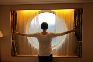 Scale of stateroom window