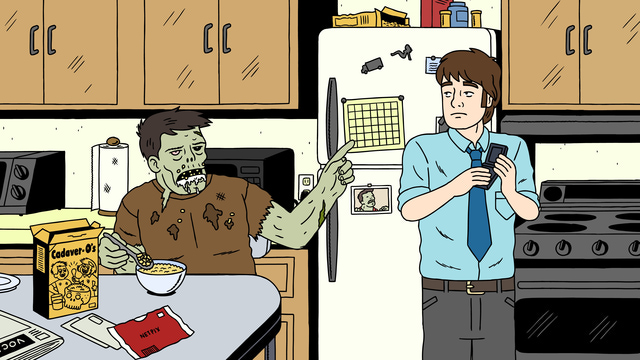 Ugly Americans - Zombie Randall Skeffington und Mark zuhause