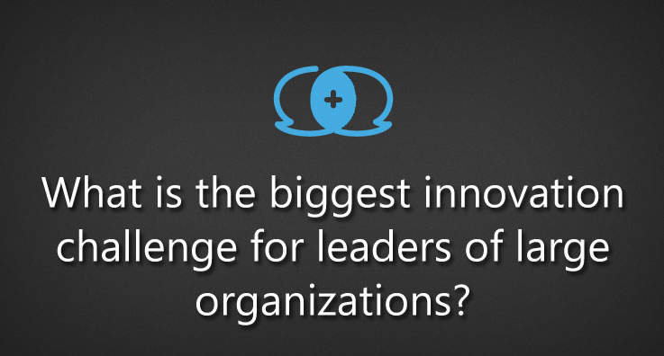 What is the biggest innovation challenge for leaders of large organizations?