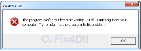 How to Fix VCOMP120.dll is missing / Not found Error solved