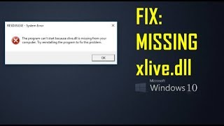 Resident Evil 5 E_FAIL : XLiveInitialize(&xii) / xlive.dll is missing