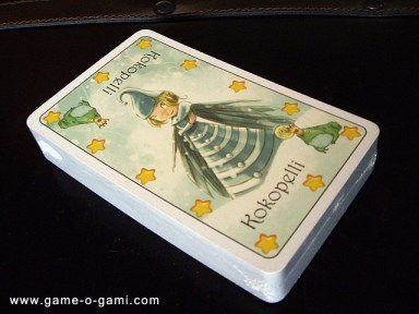 The cards, Fairy side up. This is an early version of the game with in-progress artwork.