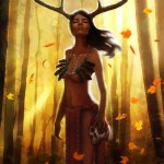 Immortal card game illustration - Deer Woman