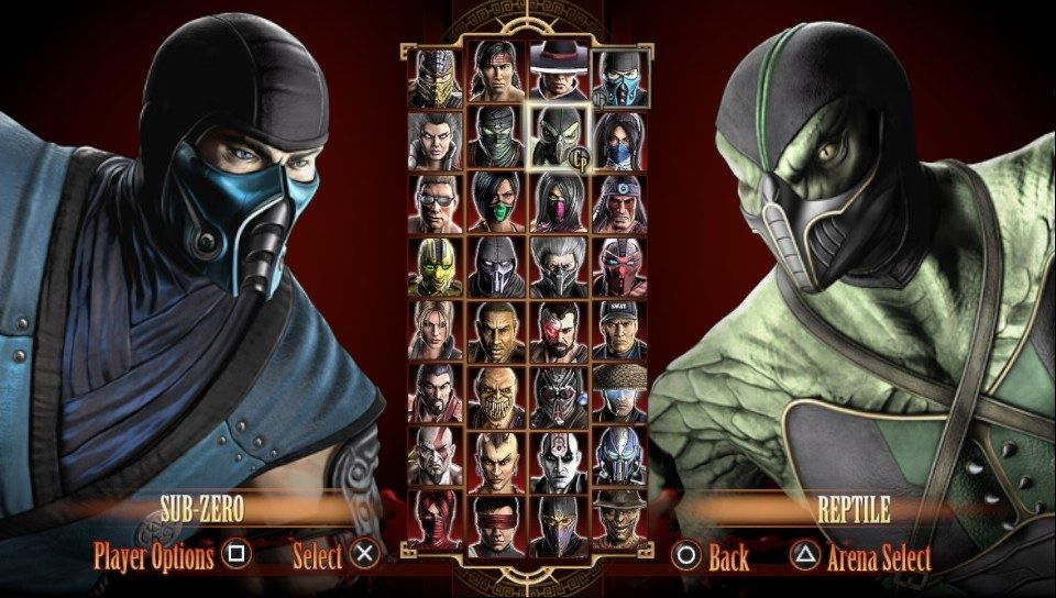 Image result for mortal kombat 9 select screen