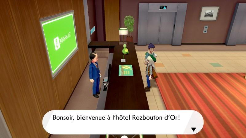 Solution pokemon épée et bouclier ville de motorby emplacement hôtel rozbouton d'or