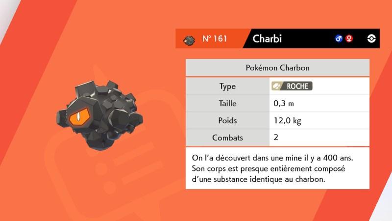 Solution pokémon épée et bouclier route 3 emplacement pokemon charbi