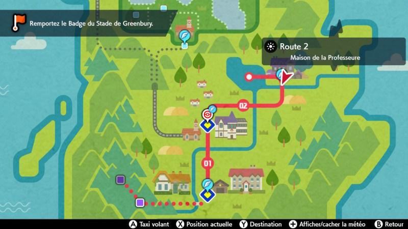 solution cheminement la maison de la professeure carte map pokemon épée bouclier