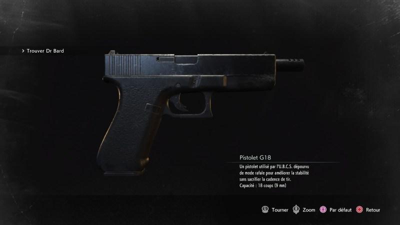 resident evil 3 remake, soluce et guide des arme, pistolet G18 emplacement