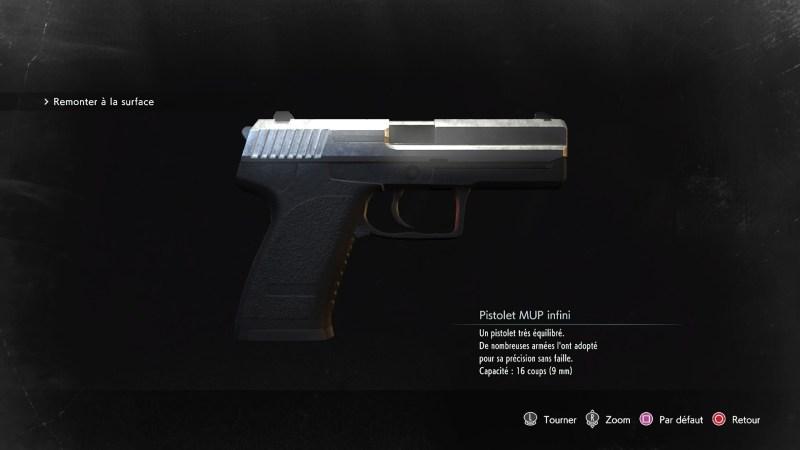 resident evil 3 remake, soluce et guide des arme, pistolet mup infini emplacement
