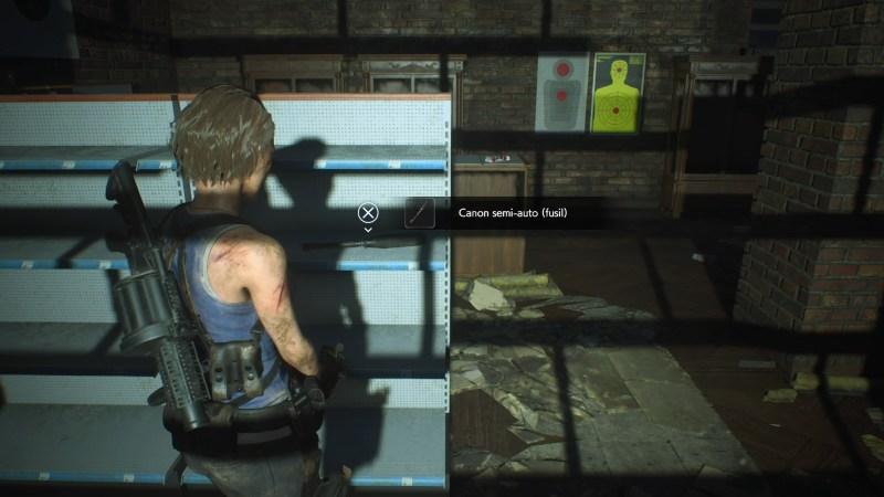 resident evil 3 remake, soluce et guide des arme, canon semi-auto fusil à pompe M3 emplacement