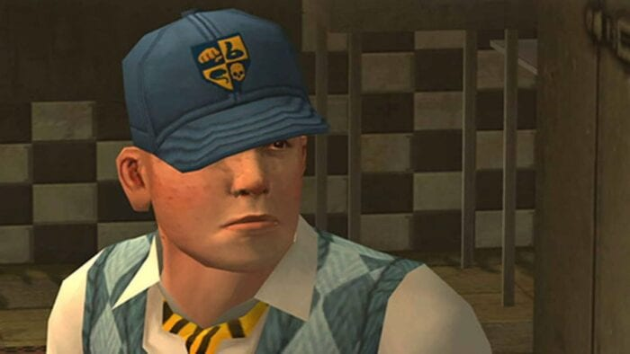 Jimmy Hopkins in a hat in Bully game