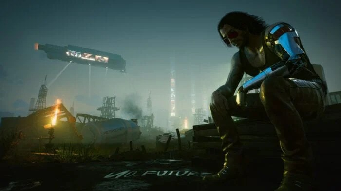 Johnny Silverhand looking sad in Cyberpunk 2077