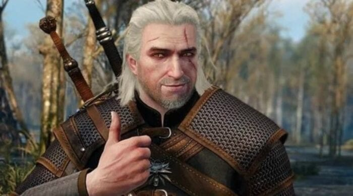 Geralt doing a thumbs up