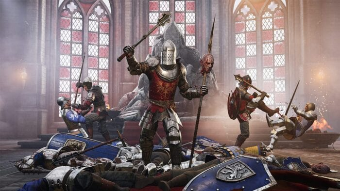 An image of Chivalry 2. Soldiers appear victorious in a throne room.