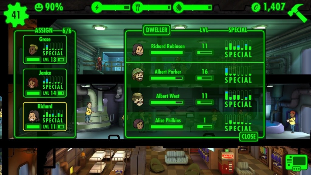 Fallout Shelter special stats