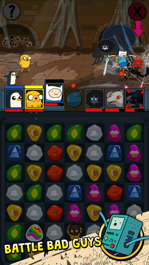 Adventure Time Puzzle Quest bad enemies